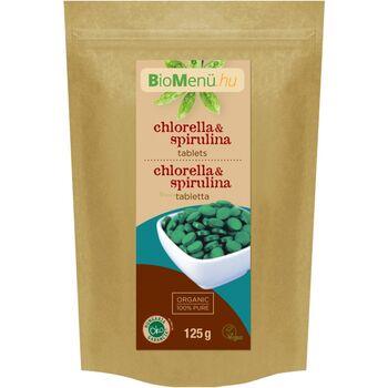 BioMenü BIO CHLORELLA és SPIRULINA 125 g 500 mg-os tabletta