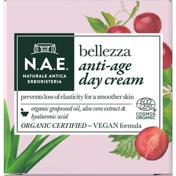 N.A.E. bio öregedésgátló nappali arckrém Bellezza bio szőlőmagolajjal, aloe vera kivonattal 50 ml